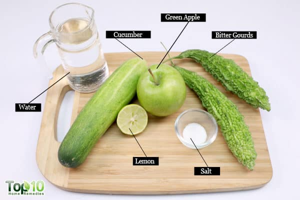 homemade bitter gourd and cucumber juice ingredients