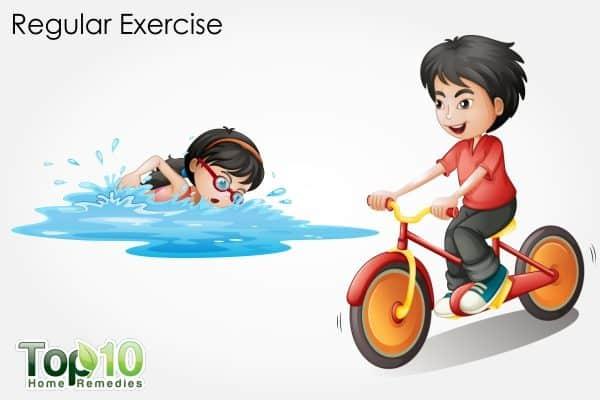 regular exercise to treat constipation in children