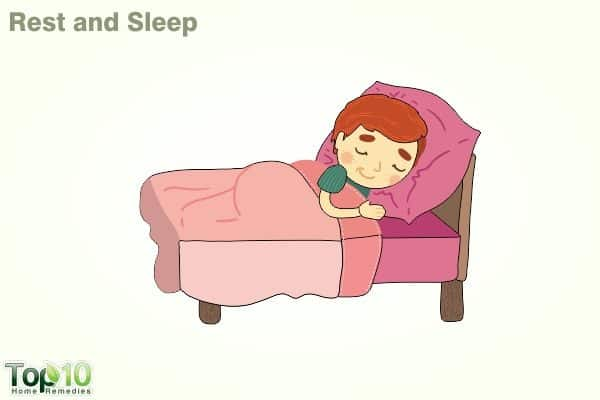 rest and sleep to bring down fever in child