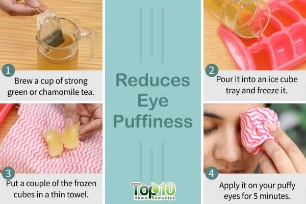ice cubes to reduce eye puffiness