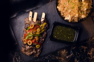 Fusion Beef Skewers with Garlic Fried Rice