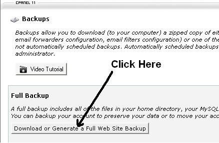 one click simple backup entire website