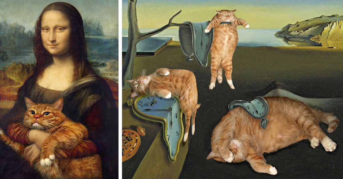 Cute Asian Cartoon Wallpaper Artist Inserts His Ginger Cat Into Famous Masterpieces Top13
