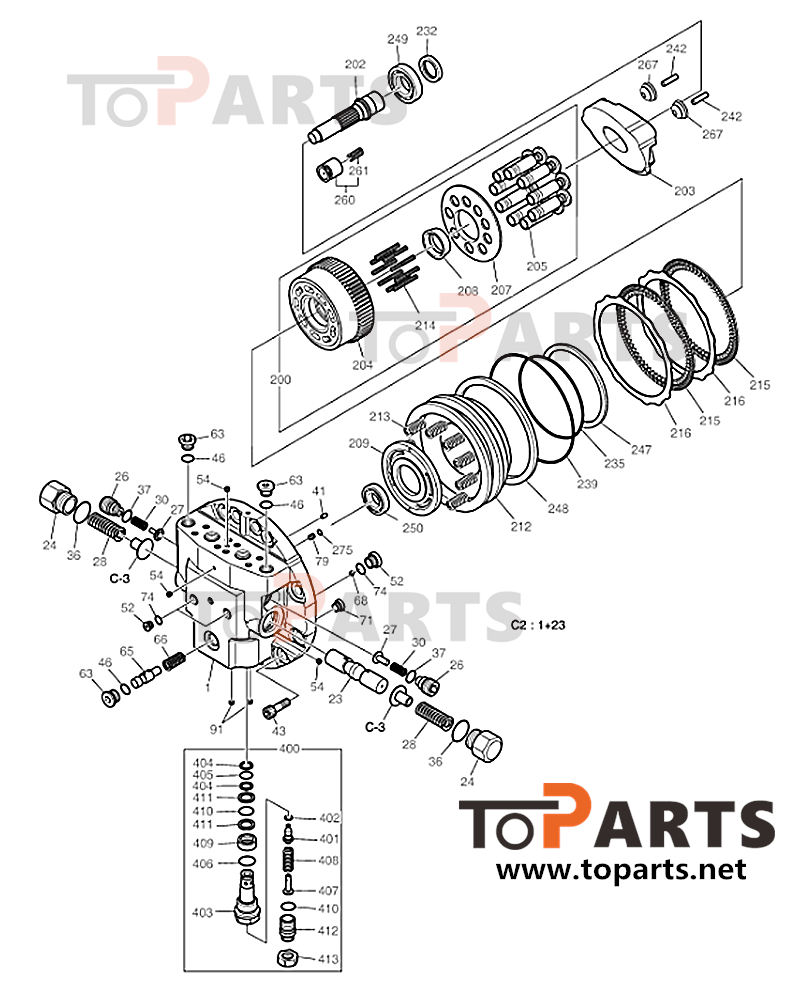Doosan K9008310 Travel motor Seal Kit