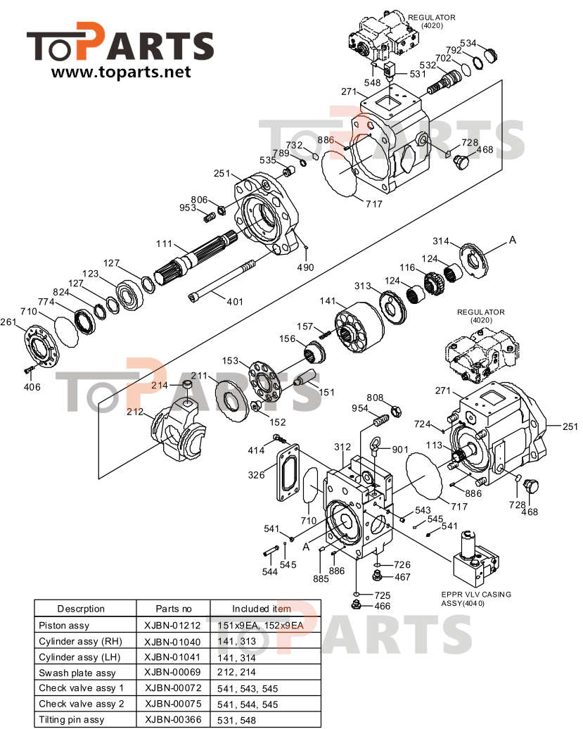 31Q7-10010 hydraulic pump seal kit for Hyundai R250LC-7