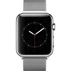 #10. Apple watch 42mm with stainless steel case and a Milanese loop