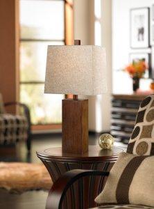 4. Darryl Wood Finish Rectangular Table Lamp