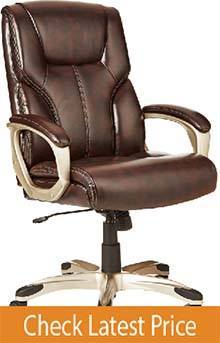 AmazonBasics Mid-Back Leather Best Office Chair