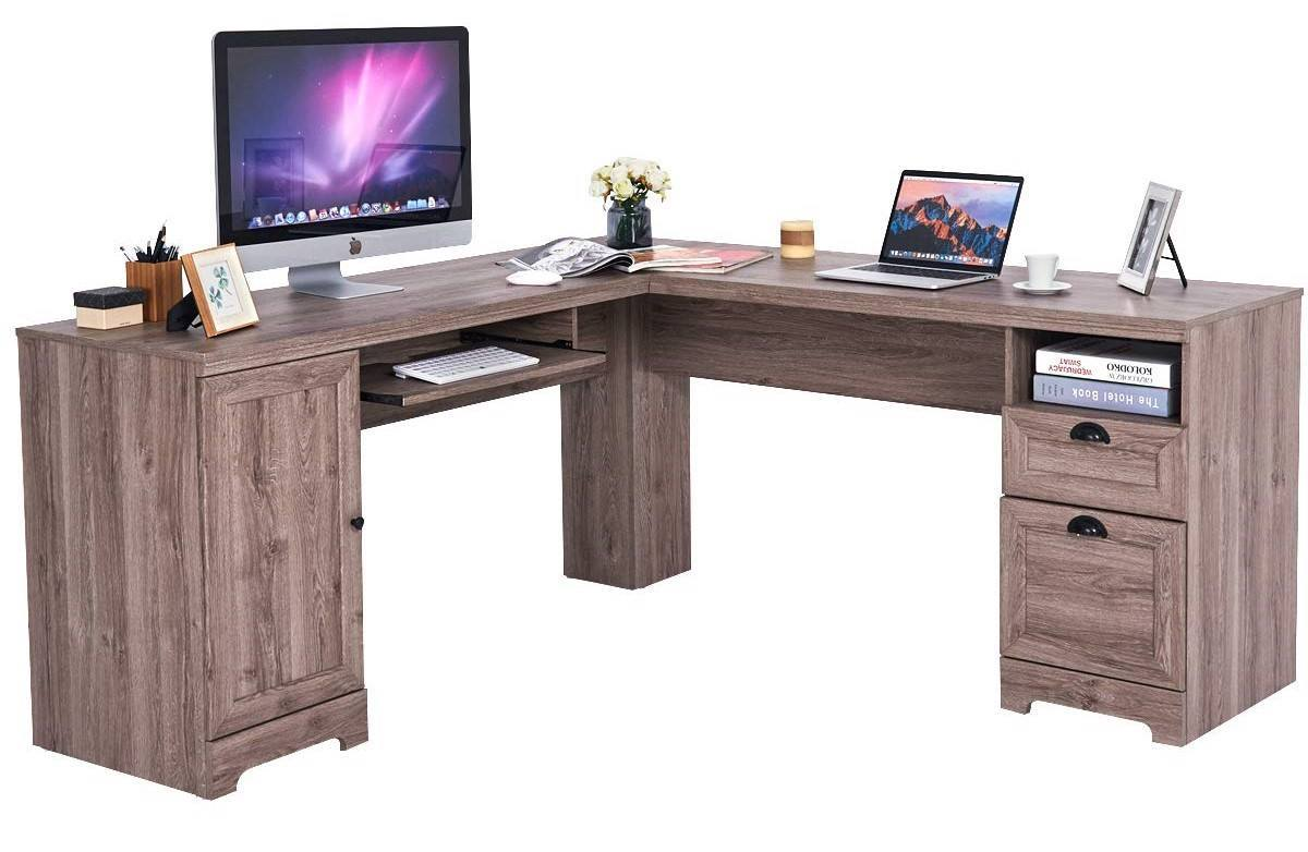 Tangkula L-Shaped Desk Corner Computer Desk