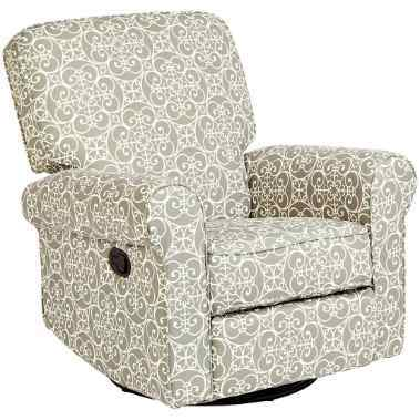 JC Home Menet Swivel Glide Recliner with Fabric Upholstery