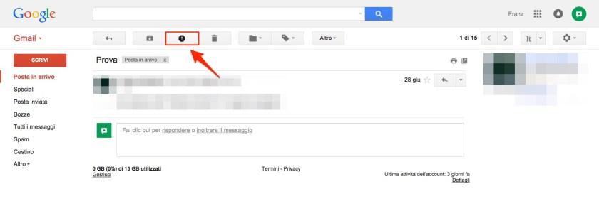 Contrassegnare email come spam