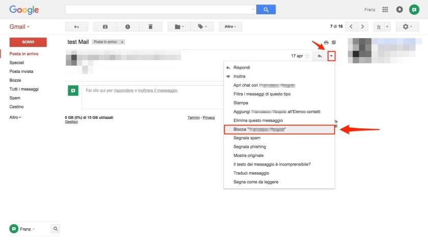 Blocca utente spam Gmail