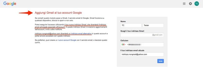 Aggiungi Gmail al tuo account Google
