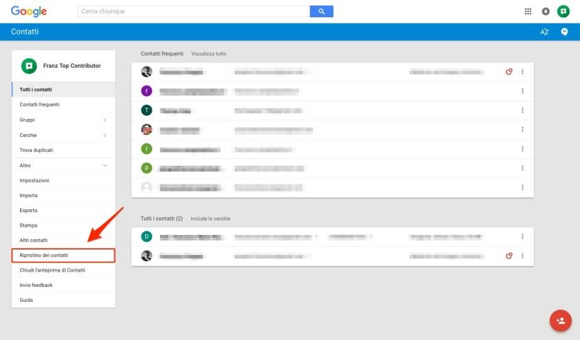 Ripristino contatti Google eliminati o scomparsi