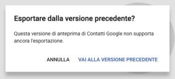Funzioni non disponibili Contatti Google