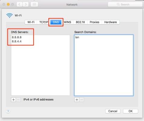 Rete Mac - Server DNS di Google