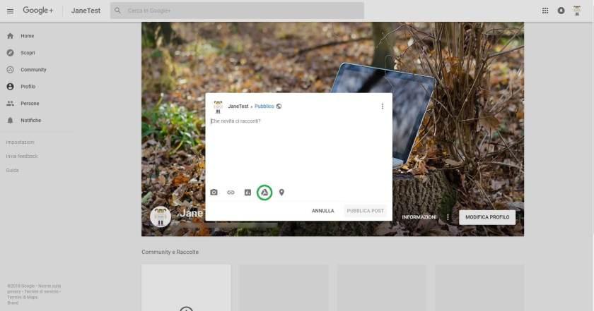 Icona Drive sulla barra strumenti
