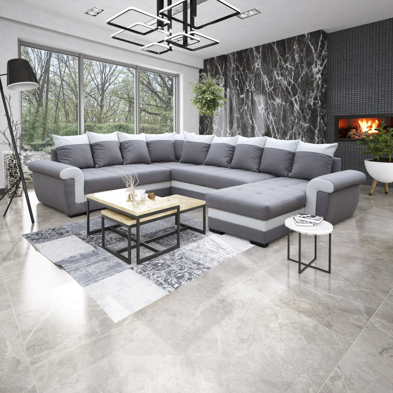 canape d angle reversible mocca gris clair blanc