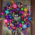 Christmas front door wreath design with cool multi colored christmas