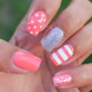 trendy coral nail art