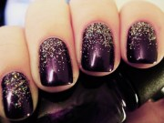 beautiful dark purple nail design
