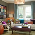 Contemporary living room design with bold color brown leather table