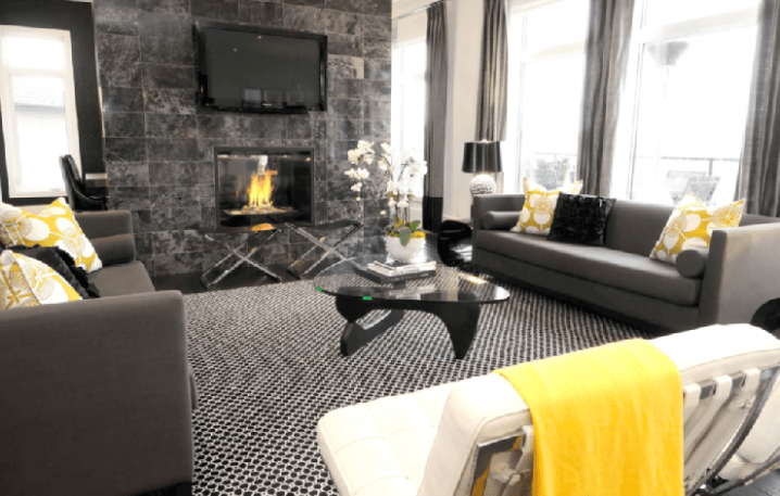 gray and yellow living room images wall mirror singapore modern grey designs