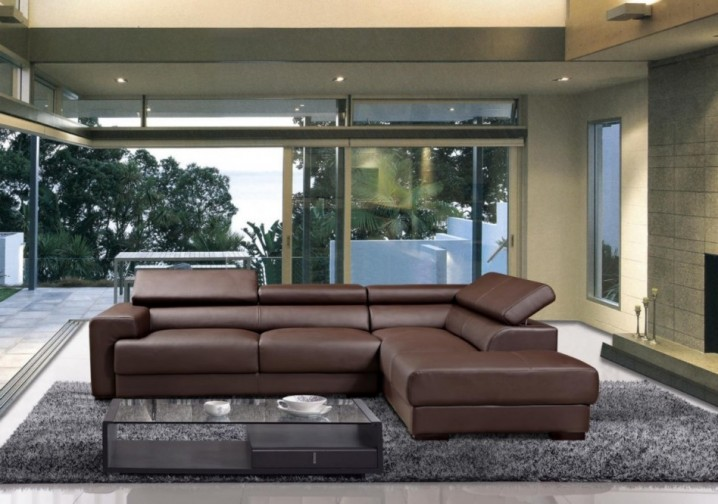 living room design ideas with brown leather sofa arrangement for small modern rooms