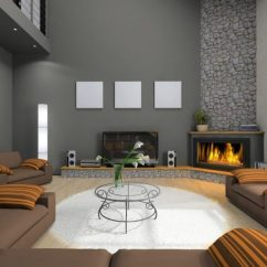 Living Room Design With Grey Sofa Colors Furniture Clever Tips To Decorate Around Corner Fireplaces