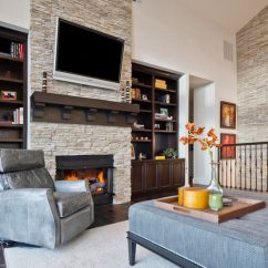 Pictures Of Living Rooms With Stone Fireplaces Room Rugs Grey Stacked For A Warm And Modern Look The Home