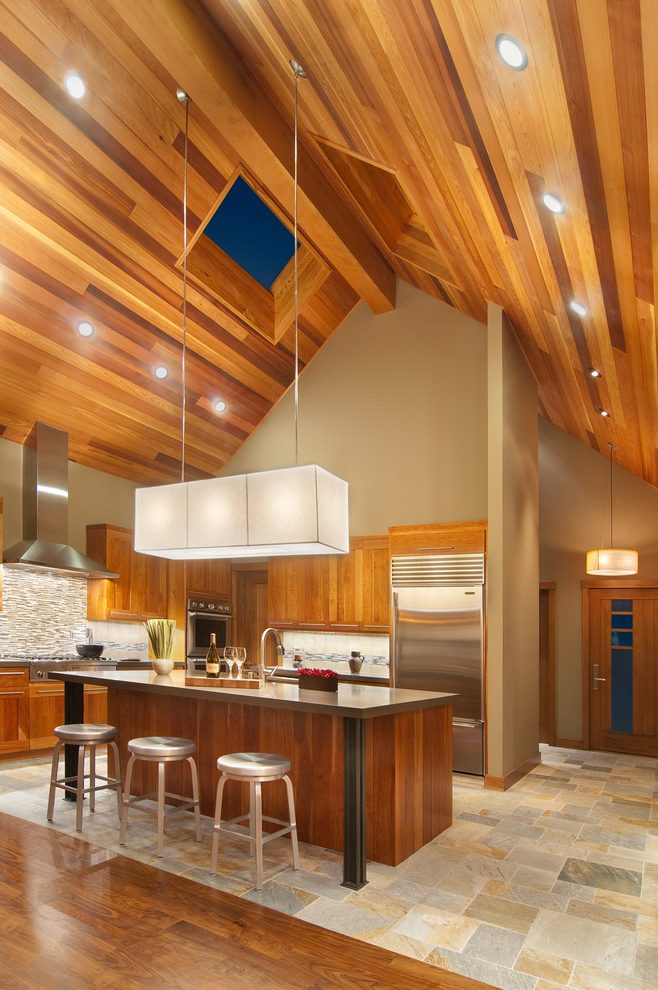 modern kitchen tables samples wood ceilings give a warm look to your