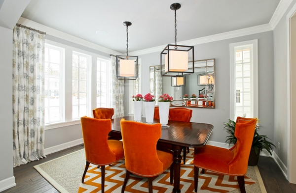 orange living room chair design ideas blue walls vibrant colored dining chairs for the modern