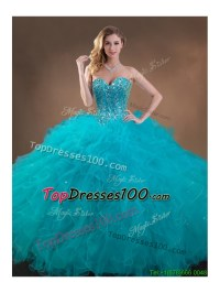2016 Big Puffy Teal Sweet 16 Gown with Beading and Ruffles ...