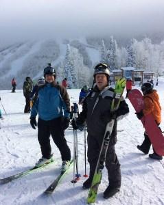 Skiers on a mountan