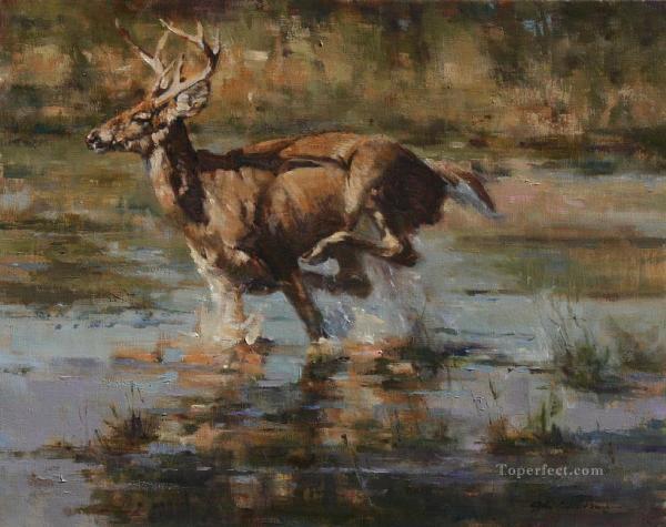 Whitetail Deer Running Painting