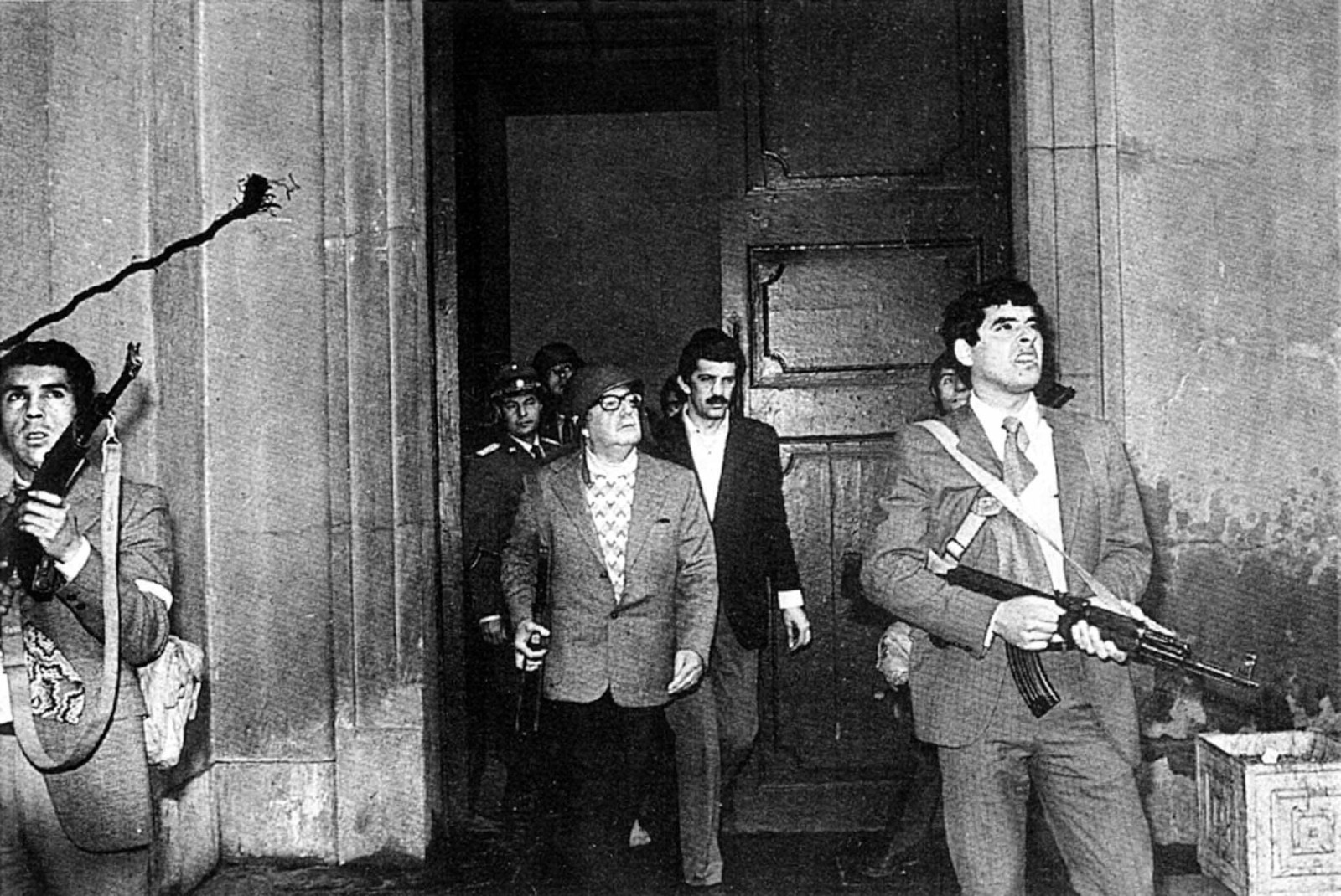 Chilean Socialist President  Allende stands at La Moneda presidential palace