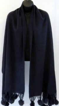 Navy Blue Cashmere & Wool Shawl Scarf Wrap With Beautiful ...
