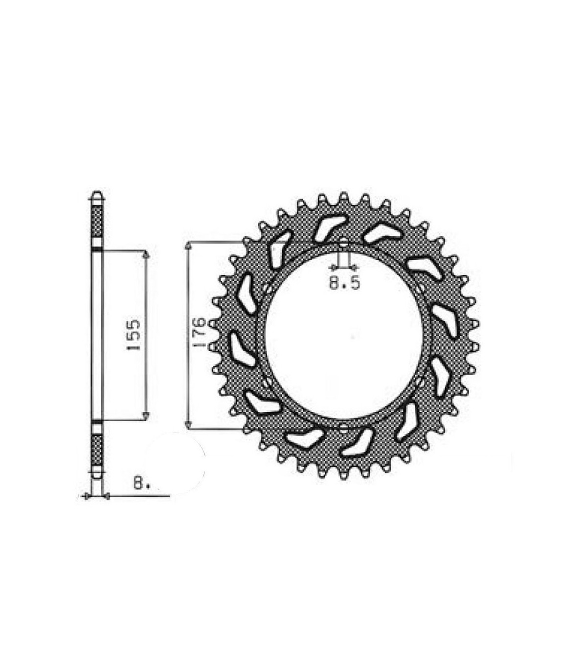 SUNSTAR STEEL REAR SPROCKET FOR TRIUMPH (43 TEETH)