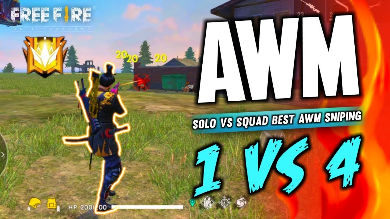 One Vs Four Best Awm Sniping Gameplay Garena Free Fire