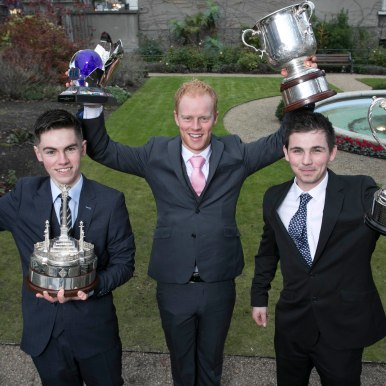 No Repro Fee 02/12/2017 The Beta Tools Motorsport Ireland Awards Ceremony was held in the Mansion House yesterday (5th Dec) to celebrate the success of the most talented drivers in Irish Motorsport in 2017. The Sexton Trophy for Young Racing Driver of the Year was awarded to 17-year-old Jordan Dempsey (left) from Mullingar, Co. Westmeath. The FIA Celtic Trophy was won overall by Sam Moffett (centre) and The Billy Coleman Award for the Young Rally Driver of the Year, supported by Sport Ireland, was won by 23-year-old Callum Devine from Derry. Photo: Peter Houlihan