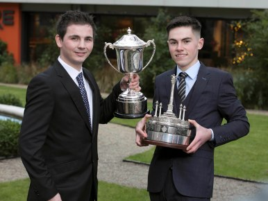 No Repro Fee 02/12/2017 The Beta Tools Motorsport Ireland Awards Ceremony was held in the Mansion House yesterday (5th Dec) to celebrate the success of the most talented drivers in Irish Motorsport in 2017 The Billy Coleman Award for the Young Rally Driver of the Year, supported by Sport Ireland, was won by 23-year-old Callum Devine,(left) from Derry and The Sexton Trophy for Young Racing Driver of the Year was awarded to 17-year-old Jordan Dempsey, from Mullingar, Co. Westmeath. Photo: Peter Houlihan