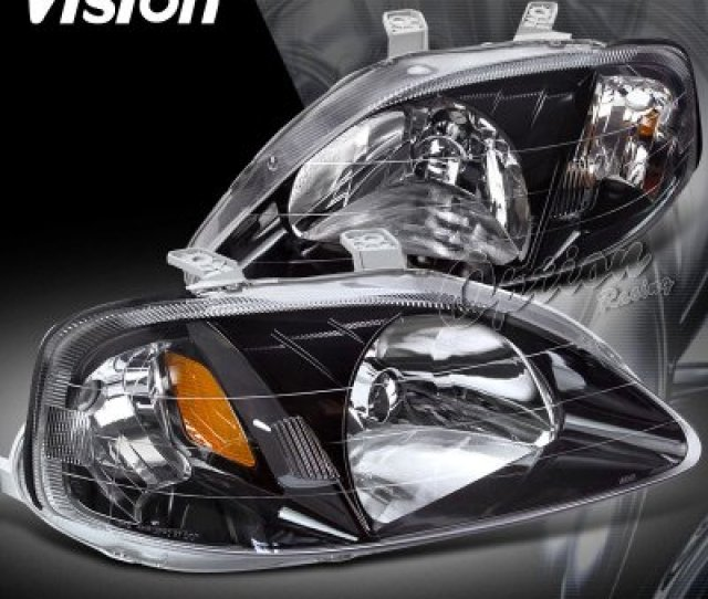 Honda Civic 1999 2000 Headlights With Black Housing