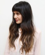 1 Long Brown Ombre Hair With Arched Bangs