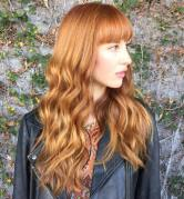 19 Copper Red Wavy Hair With Blunt Bangs