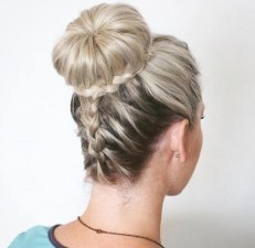 2 Bun And Braid Prom Updo