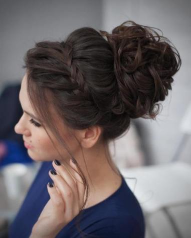 2 Curly Messy Bun Prom Updo