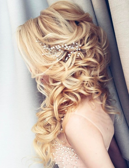 2 Long Cuely Wedding Half Updo Hairstyles Fashion And Clothing