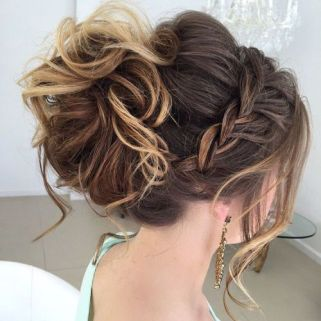 3 Messy Curled Updo With A Braid