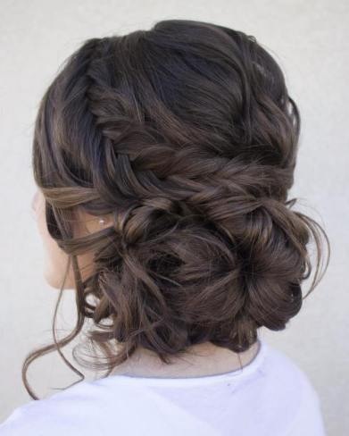 4 Loose Low Updo With Fishtail