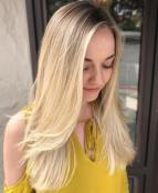 53 Long Feathered Blonde Hairstyle